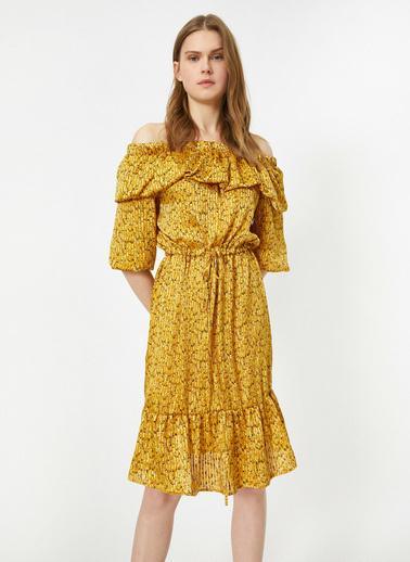 Koton Omzu Açık Desenli Beli Bağlamalı Midi Elbise Sarı